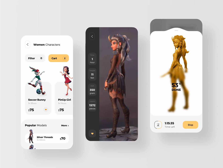 Mobile App for 3d Printer Animation