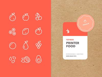 TOYBOX Printer Food avocado coconut pear peach lemon blueberry cherry apple orange fruit icon 3d printing