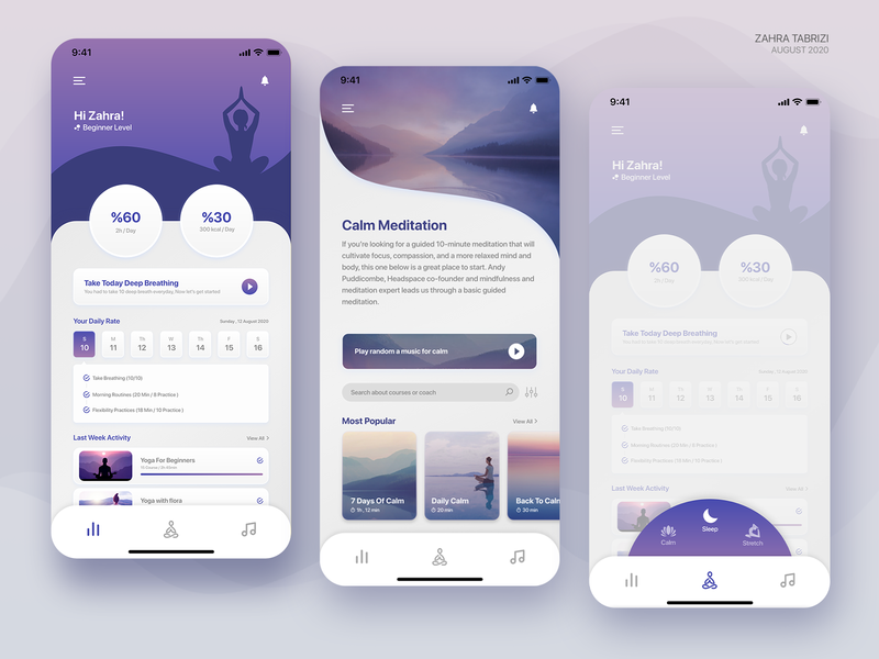 Meditation App app ui uidesign meditation app meditate meditation uiux ui design application app design design ux ui