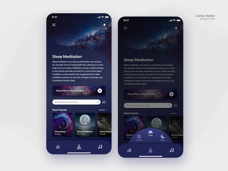 Meditation App - Dark Mode meditation app meditation uiux app ui design uidesign art application design app design ux ui