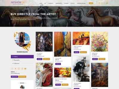 Artist profile page design for Artist Marketplace Application