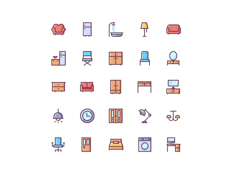 Furniture Icon Set icons design iconset illustration icon vector
