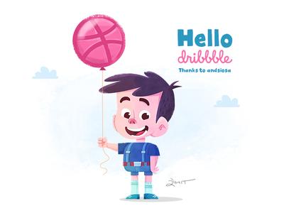 Hello Dribbble! digital art hello dribble character design vector illustration