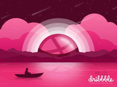 Hello Dribbble! pink vector design illustraion dribbble first shot hello dribbble