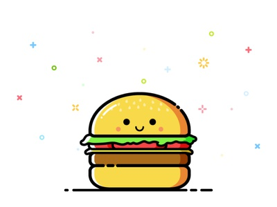 Burger fastfood cute smile happy burger mbe character vector illustration