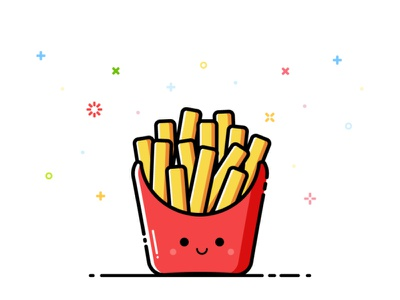 Fries fastfood fries smile happy cute mbe character vector illustration