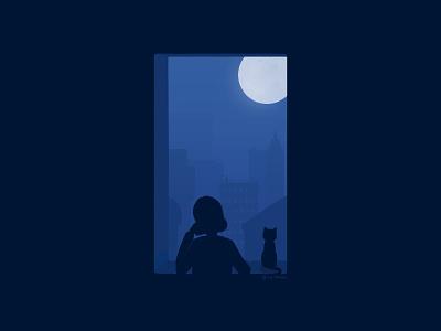 Window night window digital illustration digital painting illustration