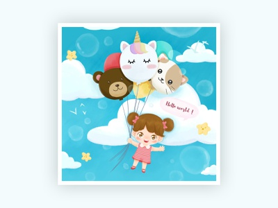 Girl with Balloons smile character illustration digital drawing sky new born hello world cute character avatar happy cute character illustration