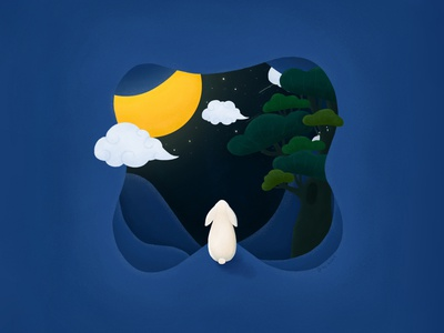 Homesick starry sky sky alone night moonlight digital illustration digital painting digital art design illustration