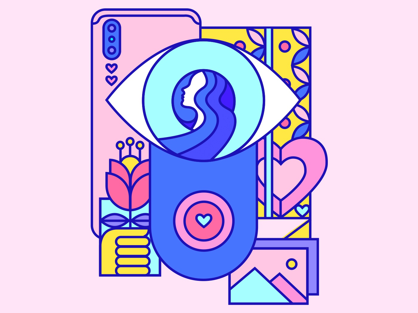 👁 pink colorful design illustration