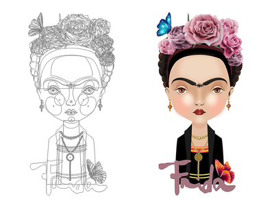 Frida Lines lines vector illustration frida kahlo frida
