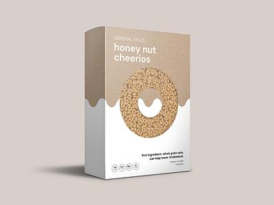 Minimalist Breakfast: Honey Nut Cheerios cereal packaging mockup mockup packaging design packaging branding design cheerios breakfast minimalist
