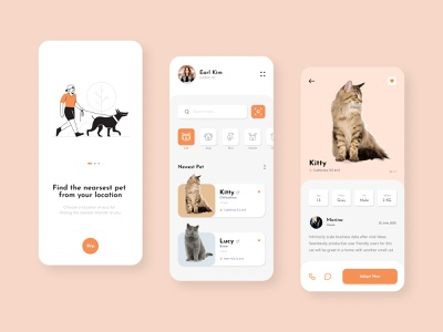 Pet Adoption App clean color figma pet adoption concept uidesign mobile app pet pet shop pet care cat clean animal app card cat catalog animals app pet adoption
