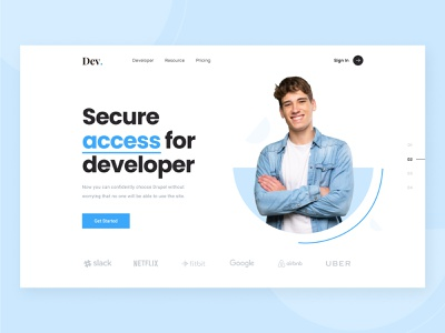 Developer Security corporate header ui design header secure access security developer