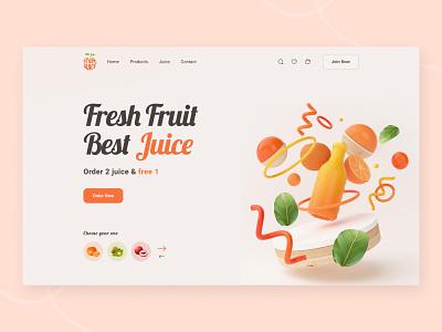 Fruits Header  Dribble ui design header juice making blend juice fruits