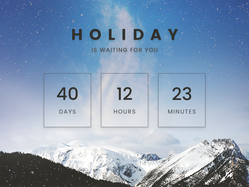 Countdown Timer // 014 unsplash waiting is holiday seconds minutes hours days timer countdown ui daily