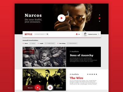 TV App // 25 // DailyUI Challenge netflix redesign new season sons of anarchy the wire narcos netflix collectui dailyui