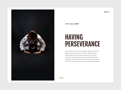 """Blog Detail Page """"Perseverance"""" - Design Exploration #01 typography white space minimalistic design blog design blog header martial art blog blog page editorial design editorial layout blog layout"""
