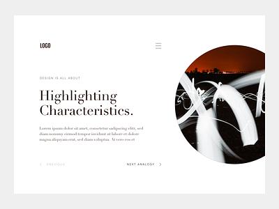 "Blog Detail Page ""Characteristics"" - Design Exploration #04 typography whitespace highclass blog minimalistic layout design blog blog design blog detail page editorial layout blog layout"