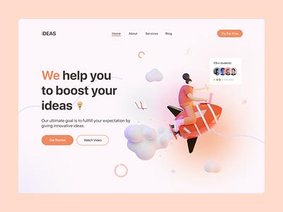Header Exploration - Idea Boosting Web Ui. ideas minimal plane profile books dribbble orrange tools header section hero area webapp ui