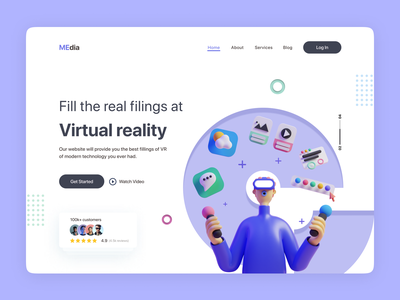 Header Exploration - Virtual reality Web Ui. vr modern minimal heroarea ux web ui vector illustration ui design motion graphics logo graphic design animation branding 3d