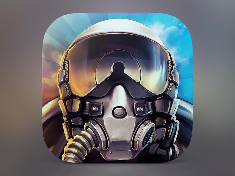 DogFight icon ios plane dogfight helmet head destroyer exterminator metall