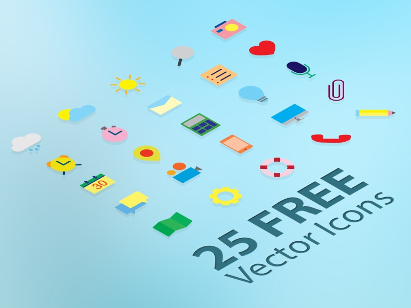 25 Free Flat Vector Icons freebies free vector icons free icons icons free flat icons flat icons heart sun icon location message crayon