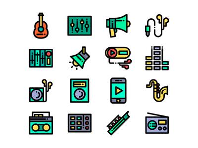 Music Icons headphones phone radio microphone music icon guitar iconmusic drums dj