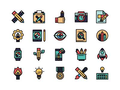 Design Thinking digital icons flat icons web icons designer ui icons creative icons design icons