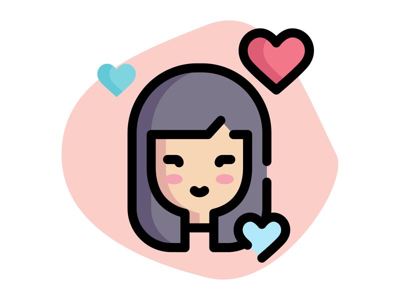 Girl In Love Icon girl character romance valentine day icon valentine day love icon love icon illustration girl illustration girl avatar girl icon girl