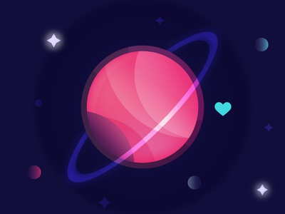 Planet Love space univers planet love illustration