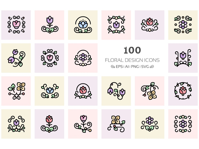 Floral Design Icons floral design icons flower design flower illustration flower logo floral icons flower icons icons