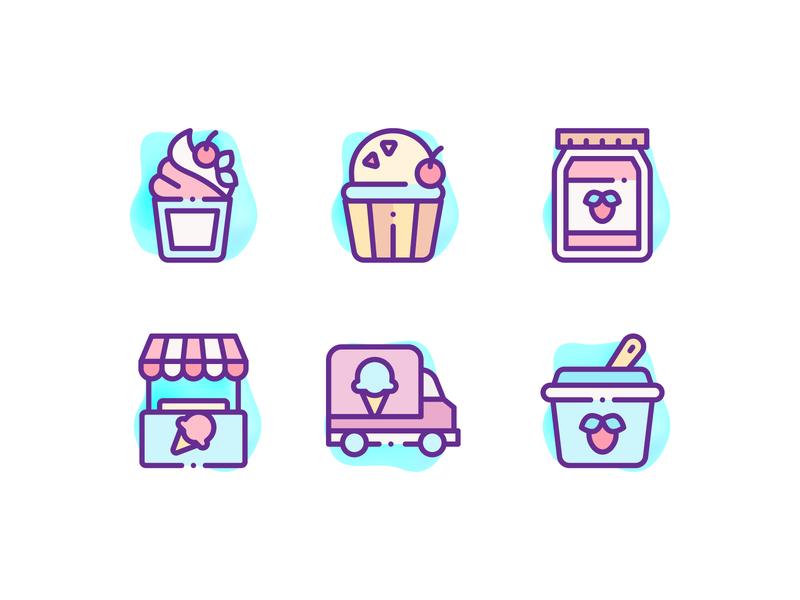 Ice Cream Shop Icons icons design icons pack icons set candy icons logo illustration icon ice cream logo ice cream truck ice cream cone sweets icons ice cream icons ice cream icons