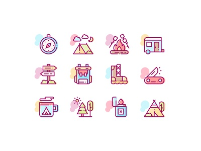 Camping Icons icon pack icon set colorful mountain icons mountain backpack vector design free time tent icons tree icons nature icons camping icons line icons icon icons