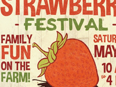 Strawberry Fest 2016 Small typography textures farm poster strawberry festival