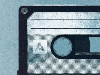 Cassette print halftones retro textures cassette