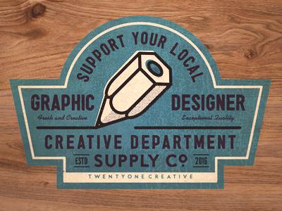 Creative support textures sticker designer typography retro twentyonecreative creative badge graphic design