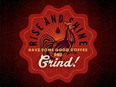 Rise Shine Badge morning twentyonecreative retro texture type typography