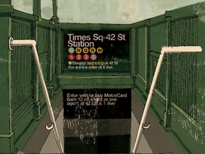 NY Subway handdrawn vintage type illo subway new york textures illustration