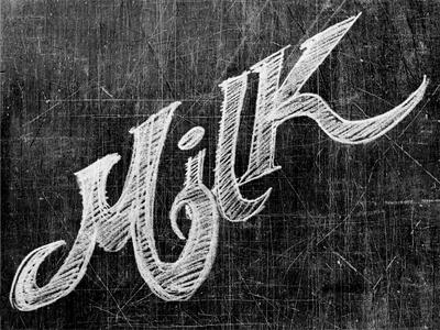 Milk milk handwriting typography black white