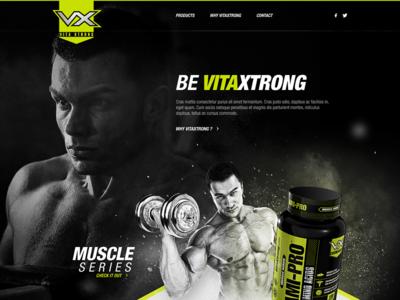 VX Landing athletes proteins muscle ui post prod 3d branding