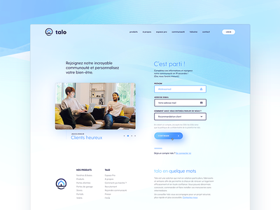 Talo Join/ Sign up iconography branding house blue sign up website talo register page