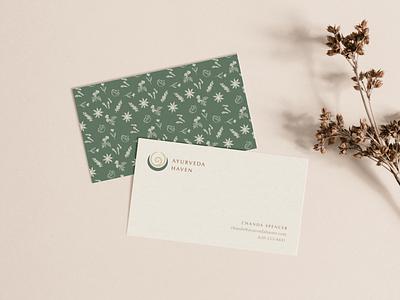 Ayurveda Business Cards minimal pattern wellness ayurveda business card