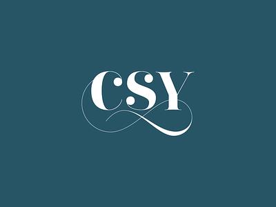 Christina Sell Yoga monogram logo type typography branding wellness csy monogram brand identity yoga logo
