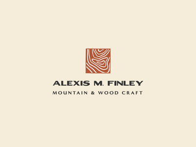Alexis Finley Initial Logo Concept outdoors wood craft branding brand identity modern mid-century logo woodgrain mountains