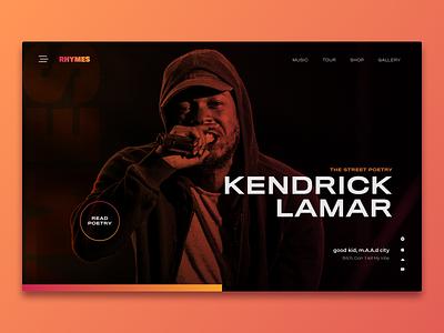 Rhymes - Website Concept webdesign website kendrick lamar design uidesign ui sketch music rhymes portugal lisbon poetry orange interface rap hiphop exploration concept clean ui clean