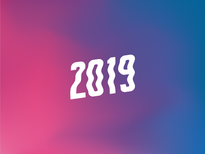 Happy 2019! mesh gradient graphic branding new year dribbble celebrate typography type font curved effect 2019 2018