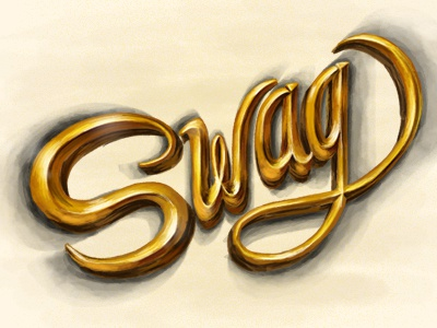 Swag brush hand illustration lettering type typography swag gold mexico design