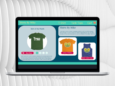 T-shirts by Mike website ui ux design