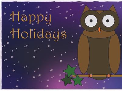 Postcard Owl holiday chirstmas winter postcard design effects art card owl postcard vector design branding illustration